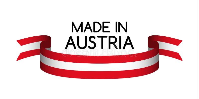 Cinta coloreada con los colores del austriaco, hechos en Austria ilustración del vector