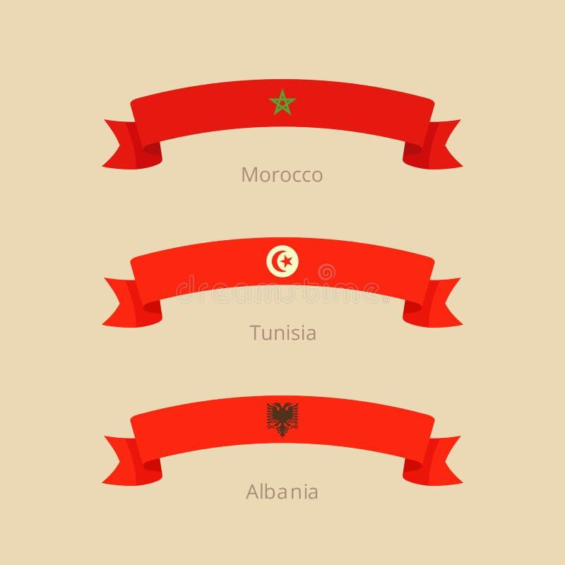 Cinta Con La Bandera De Marruecos, De Túnez Y De Albania Ilustración ...
