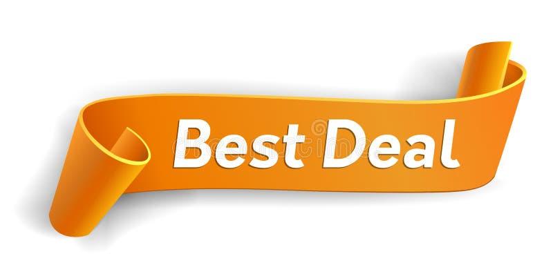 Cinta curvada realista, bandera de papel anaranjada en el fondo blanco El mejor reparto Tarjeta de Greating blank Desfile de pape stock de ilustración