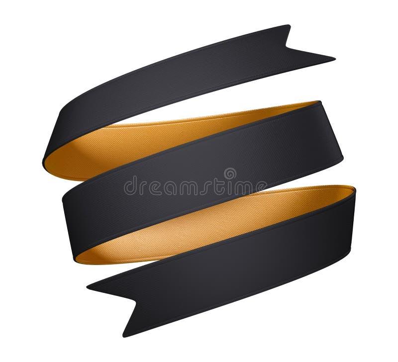 cinta curvy del negro del oro doble 3d aislada en el fondo blanco ilustración del vector