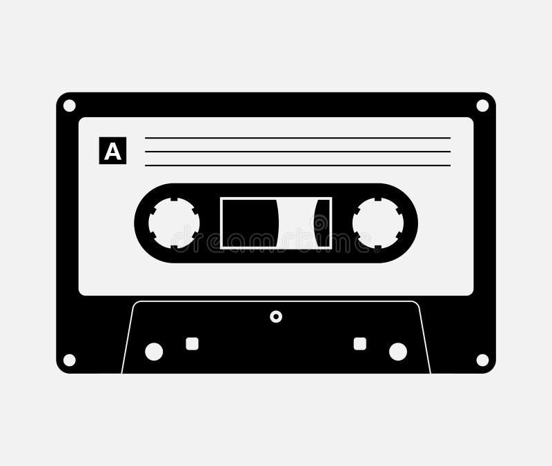 Cinta de audio aislada vector antiguo reproductor de música retro. Mezcla en blanco 80s de audio de música retro libre illustration