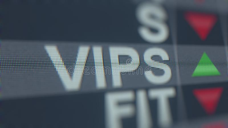 Cinta de cotizaciones bursátiles de ADR VIPS de las TENENCIAS de VIPSHOP Representación editorial 3D libre illustration