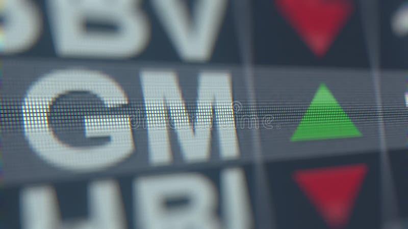 Cinta de cotizaciones bursátiles del GM de General Motors Representación editorial 3D libre illustration