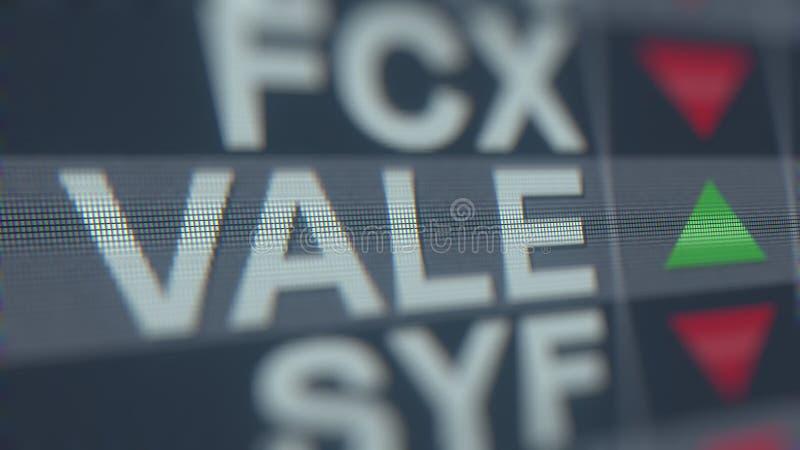 Cinta de cotizaciones bursátiles del VALLE de ADR del VALLE, representación editorial conceptual 3D ilustración del vector