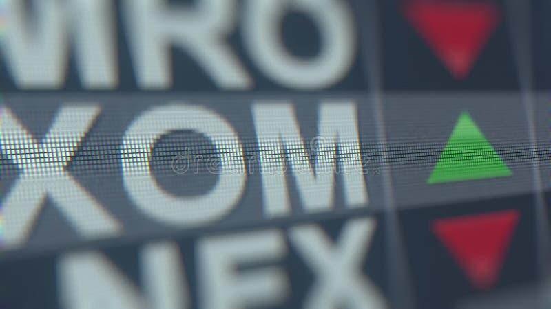 Cinta de cotizaciones bursátiles de EXXON MOBIL XOM en la pantalla Representación editorial 3D ilustración del vector