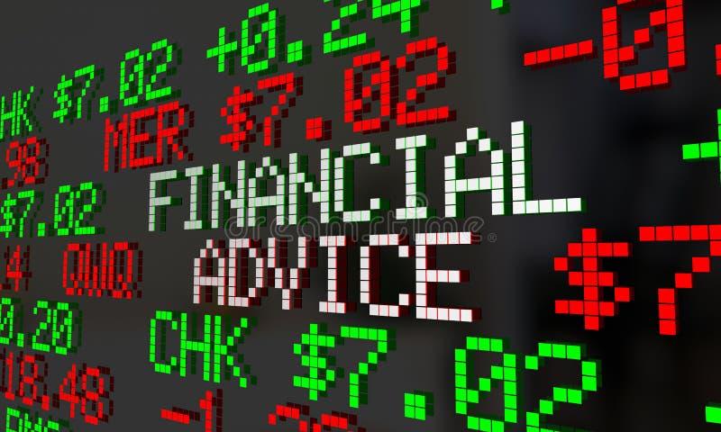 Cinta de cotizaciones bursátiles financiera de la ayuda del dinero del consejero del consejo stock de ilustración