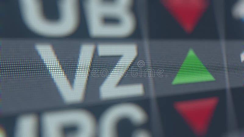 Cinta de cotizaciones bursátiles de VERIZON COMMUNICATIONS VZ, representación editorial conceptual 3D libre illustration