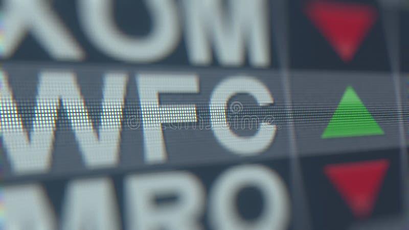 Cinta de cotizaciones bursátiles de WELLS FARGO WFC, representación editorial conceptual 3D ilustración del vector