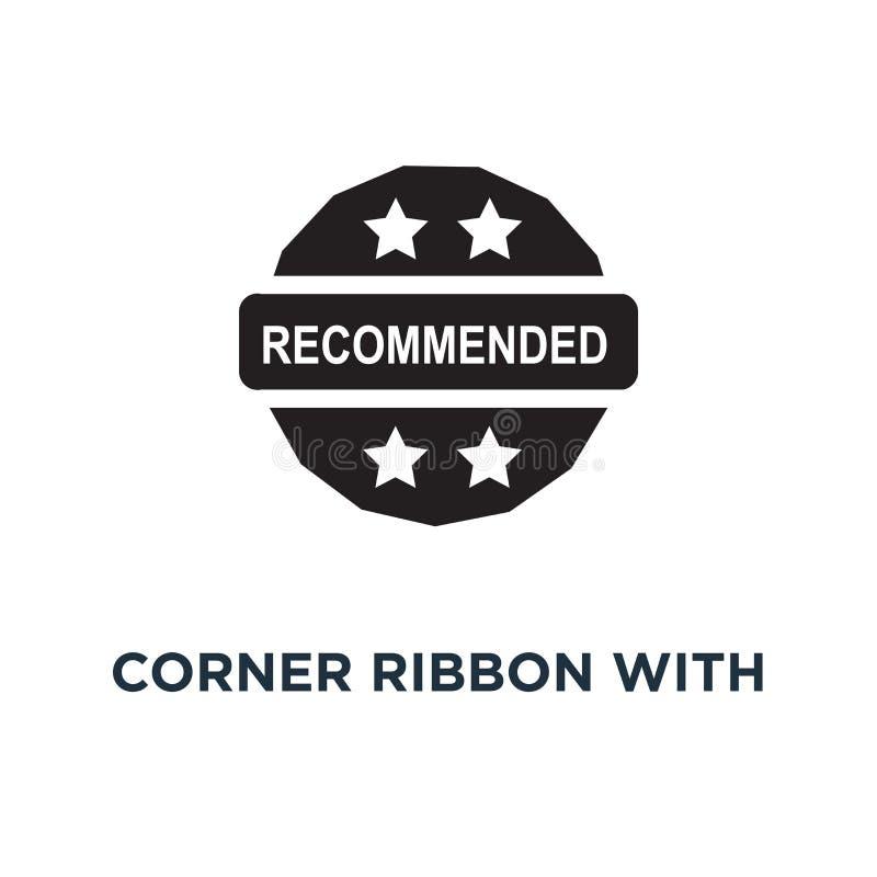 Cinta de la esquina roja con el icono recomendado del texto Enfermedad simple del elemento ilustración del vector