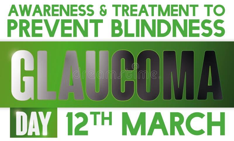 Cinta de oscurecimiento que promueve la prevención de la ceguera en el día del glaucoma del mundo, ejemplo del vector ilustración del vector