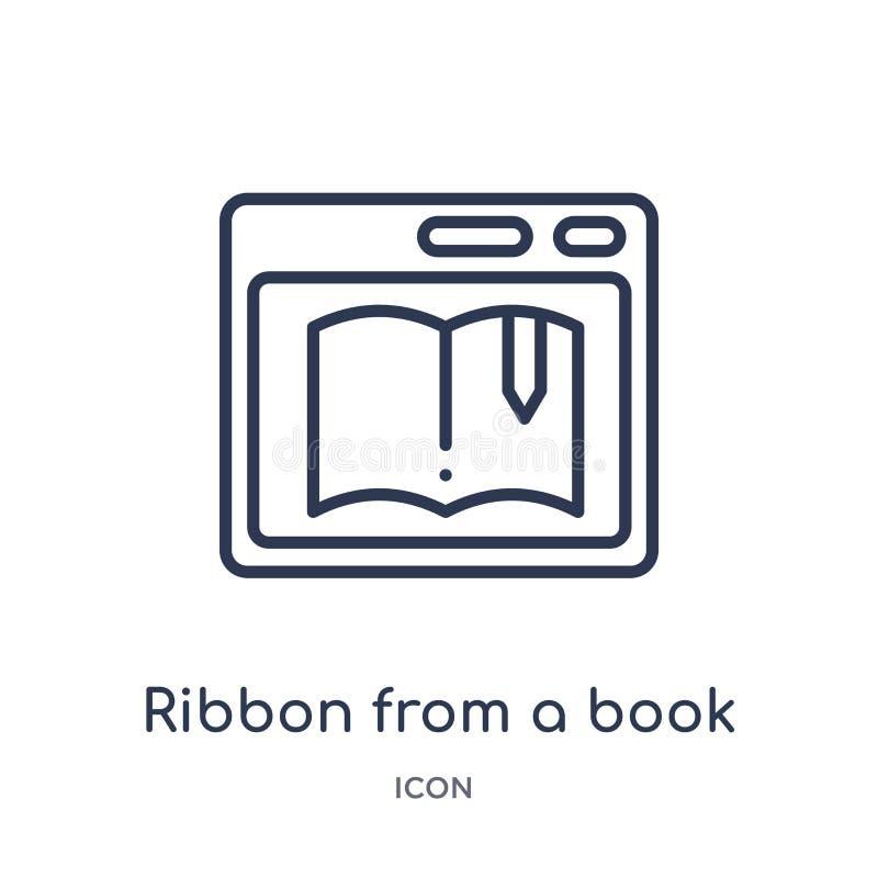 cinta de un icono del libro de un icono del libro de la colección del esquema de la interfaz de usuario Línea fina cinta de un ic ilustración del vector