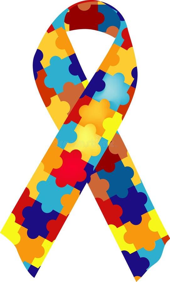 Cinta del conocimiento del autismo stock de ilustración