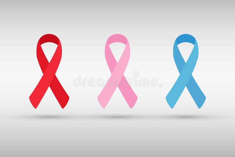Cinta del conocimiento del SIDA Cinta del cáncer de pecho Cinta del canser de la próstata libre illustration