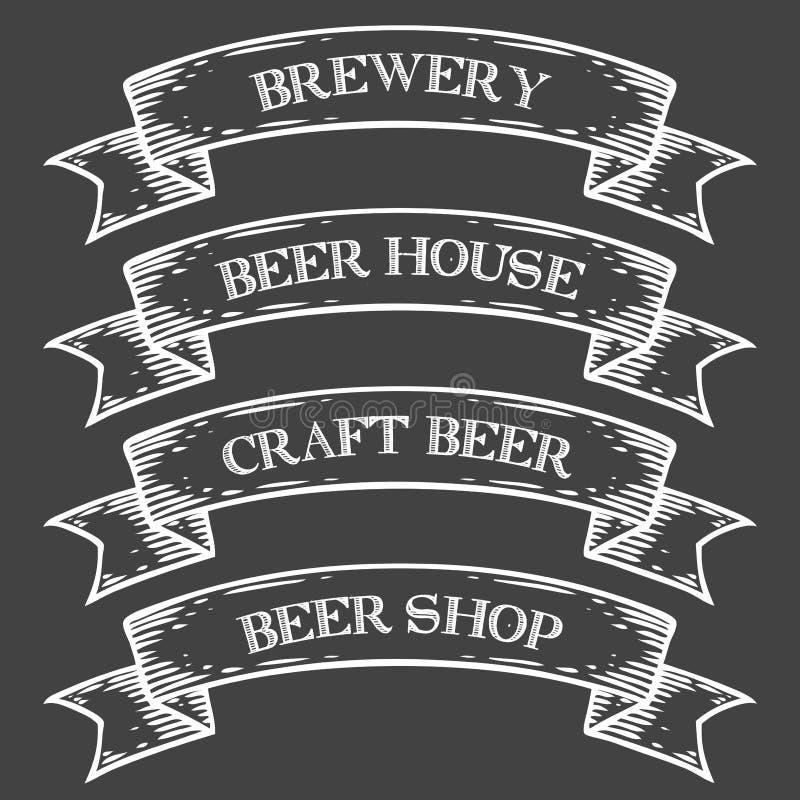 Cinta del emblema del mercado de la tienda de la cervecería de la cerveza del arte Vintage medieval monocromático del sistema ilustración del vector