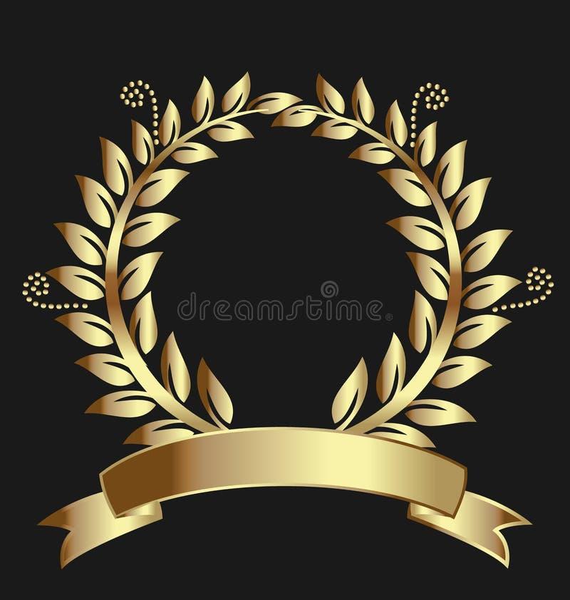 Cinta del premio de la guirnalda del laurel del oro ilustración del vector