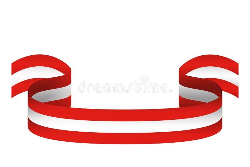 Cinta en colores de la bandera de Austria en el fondo blanco con el lugar ilustración del vector