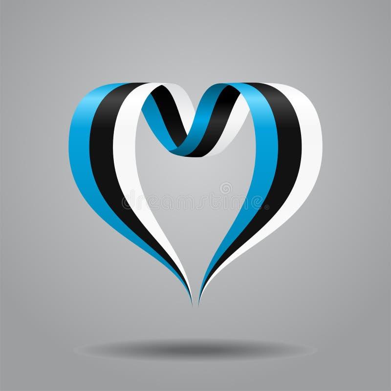 Cinta en forma de corazón de la bandera estonia Ilustración del vector libre illustration