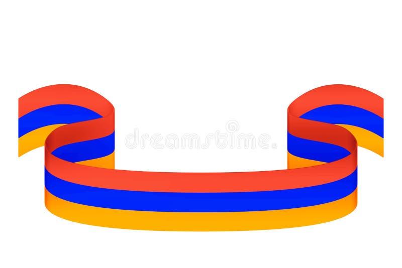 Cinta en los colores de la bandera armenia en un fondo blanco ilustración del vector