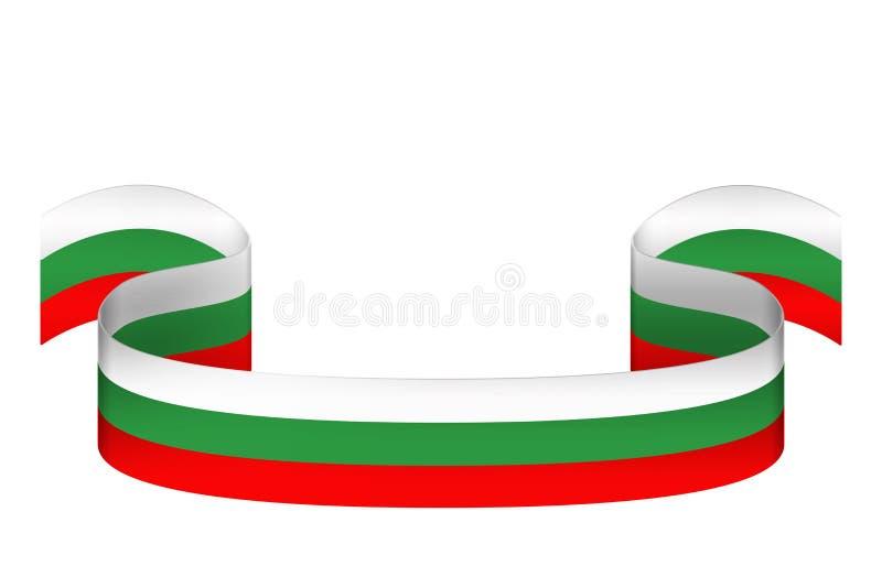 Cinta en los colores de la bandera búlgara en un fondo blanco ilustración del vector