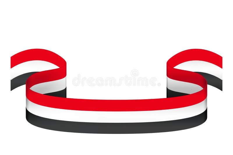 Cinta en los colores de la bandera de Egipto en un fondo blanco ilustración del vector