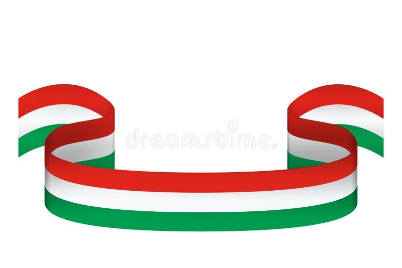 Cinta en los colores de la bandera de Hungría en el fondo blanco libre illustration
