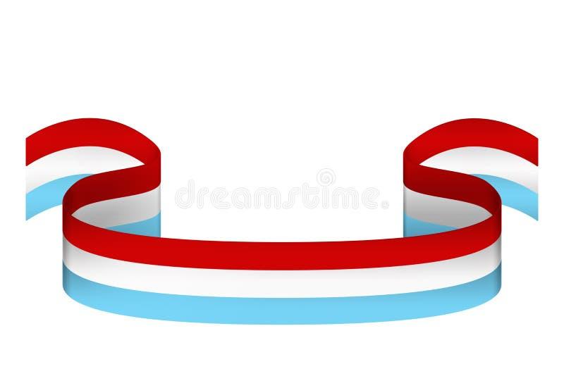 Cinta en los colores de la bandera de Luxemburgo en el backgrou blanco libre illustration