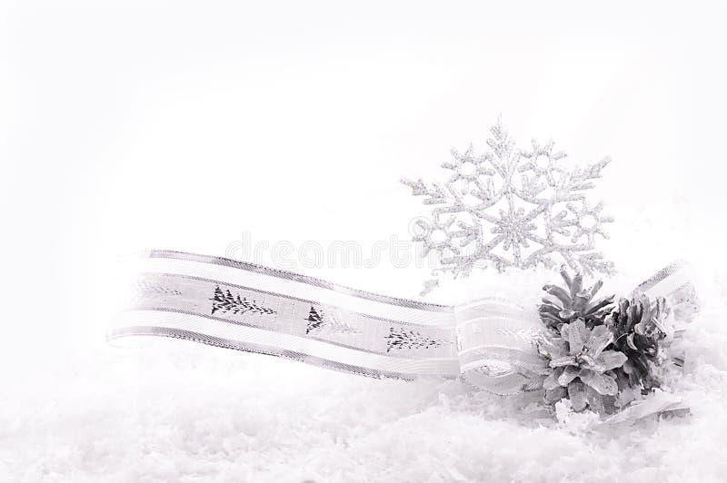 Cinta, estrellas y conos agradable curvados de la plata en nieve fotos de archivo