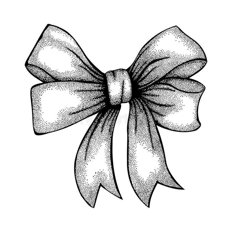 Cinta hermosa atada en arco. Dibujo a pulso en pluma y tinta gráficas del estilo stock de ilustración
