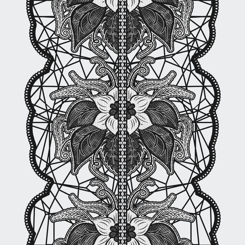 Cinta inconsútil negra del cordón en un fondo ligero Estampado de flores hermoso para las invitaciones y las tarjetas del diseño stock de ilustración
