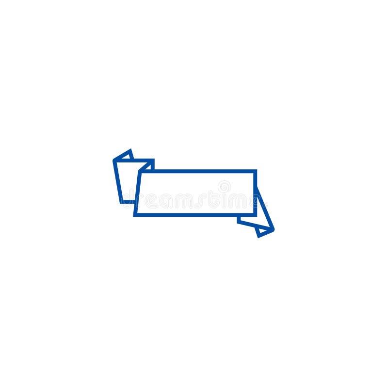 Cinta, línea concepto de la muestra de la bandera del icono Cinta, símbolo plano del vector de la muestra de la bandera, muestra, ilustración del vector