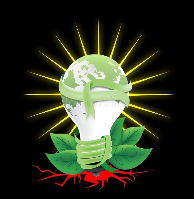 Cinta ligera del verde del mundo alrededor de la parte posterior de la luz del sol stock de ilustración