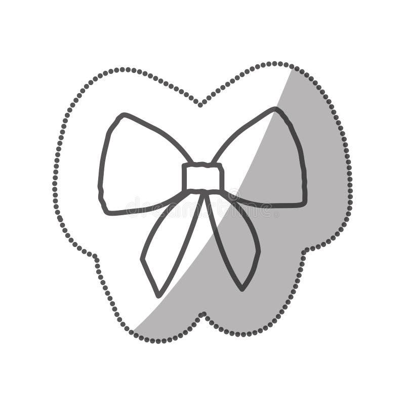 cinta linda realista de la silueta de la etiqueta engomada con el arco ilustración del vector