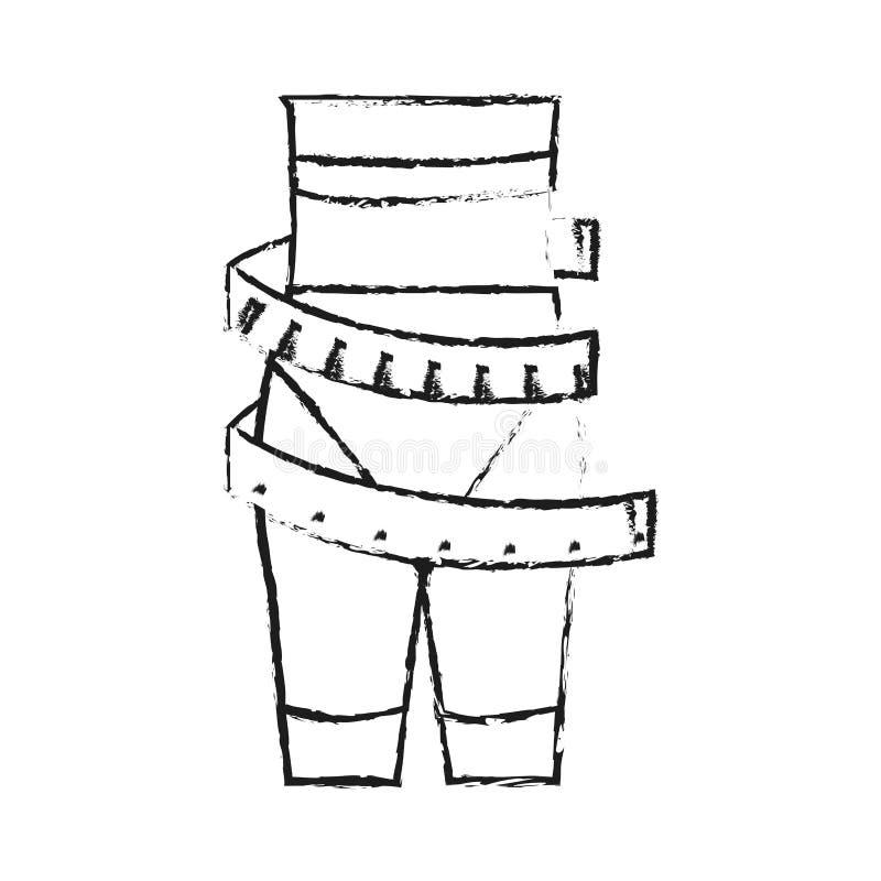 cinta métrica alrededor de la imagen fina del icono de la pérdida de peso de la cintura de la mujer stock de ilustración