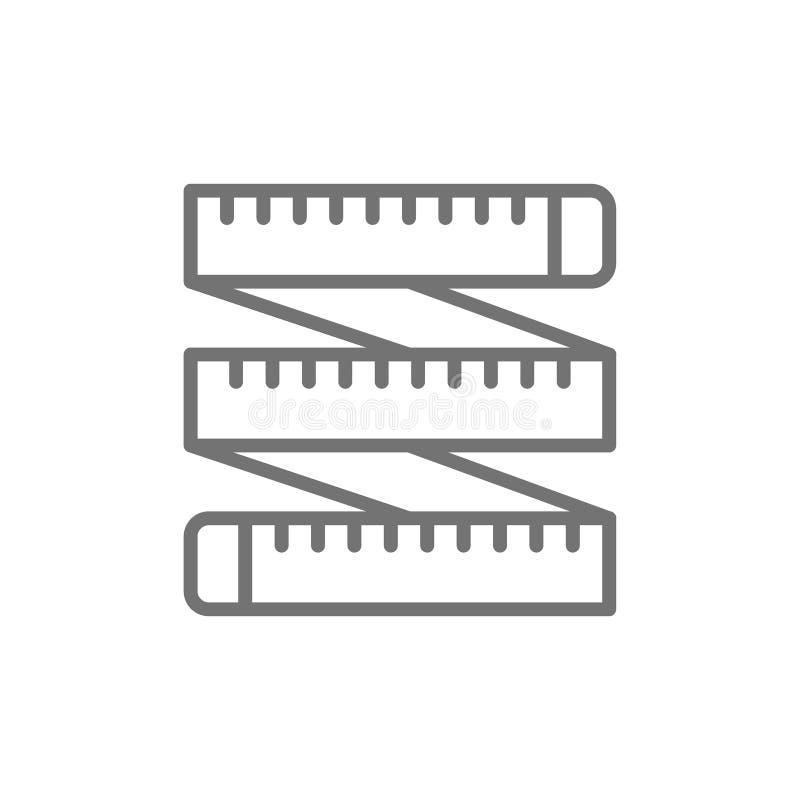 Cinta métrica, centímetro del sastre, línea icono de la ruleta stock de ilustración