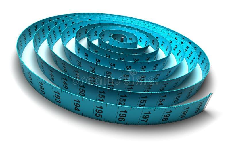 Cinta métrica plástica - pérdida de peso - dieta ilustración del vector