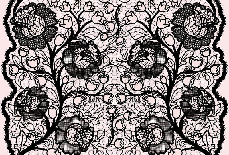 Cinta negra inconsútil abstracta del cordón con el estampado de flores femenino ilustración del vector