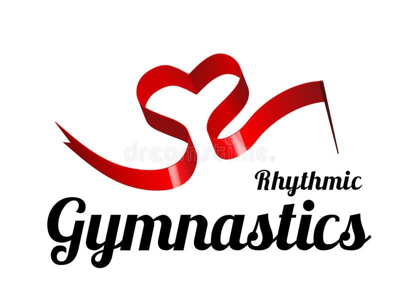 Cinta para la gimnasia rítmica en la forma de un corazón Ejemplo del vector en blanco ilustración del vector