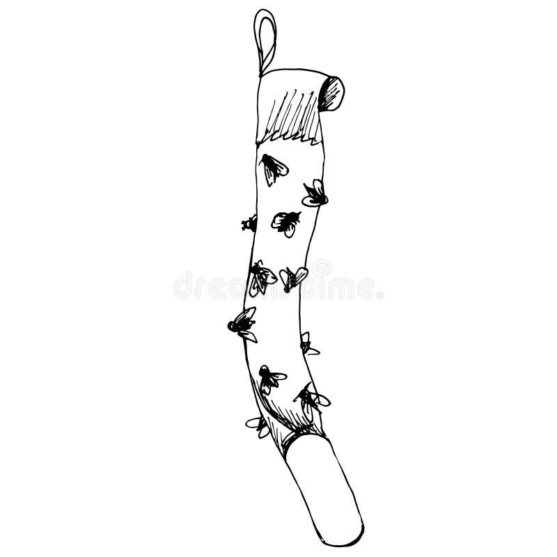 Cinta pegajosa del papel matamoscas con las moscas pegadas Bosquejo del esquema de la trampa para las moscas dispositivo de la Ff stock de ilustración