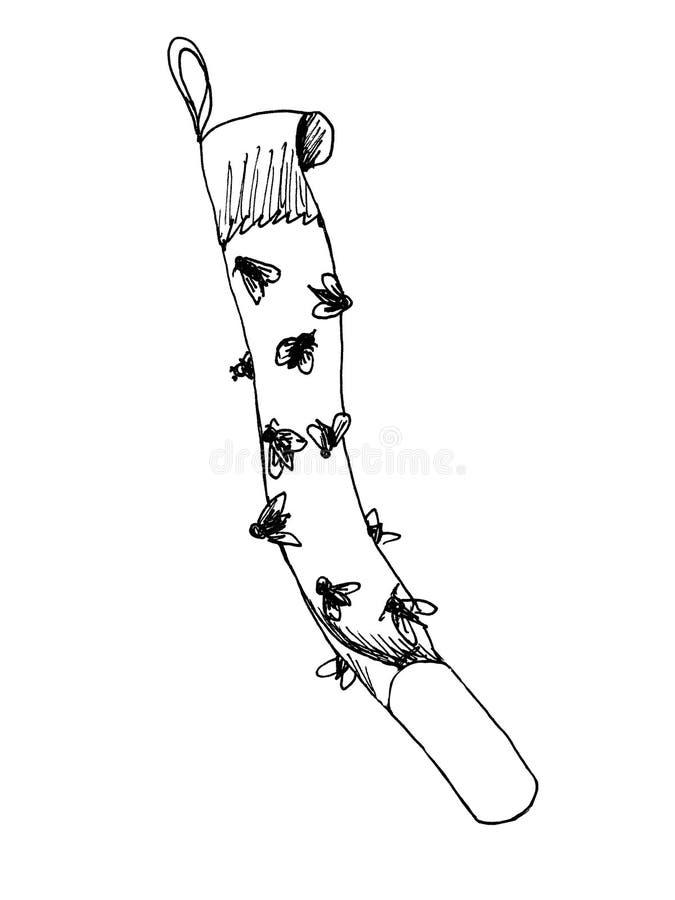 Cinta pegajosa del papel matamoscas con las moscas pegadas, trampa para las moscas o dispositivo de la mosca-matanza Bosquejo del libre illustration