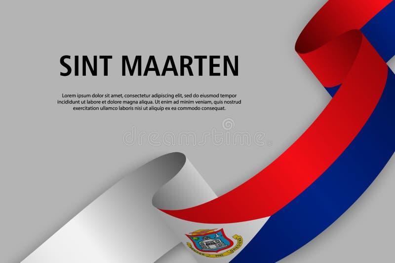 Cinta que agita con la bandera de Sint Maarten ilustración del vector