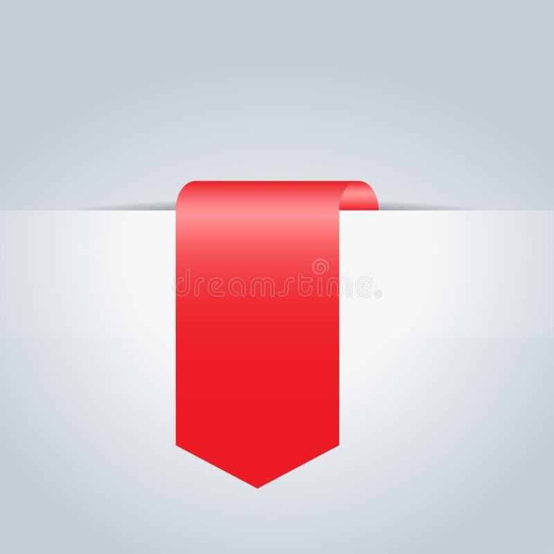 Cinta realista roja bandera Ilustración del vector stock de ilustración