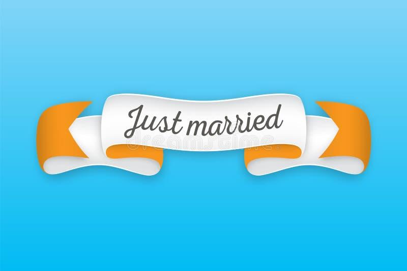 Cinta retra de moda con el texto apenas casado Bandera colorida con stock de ilustración