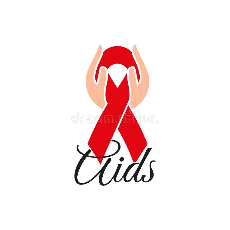 Cinta roja aislada en manos humanas Conciencia de la enfermedad Concepto del Día Mundial del Sida Pare el icono del virus Ayuda i stock de ilustración