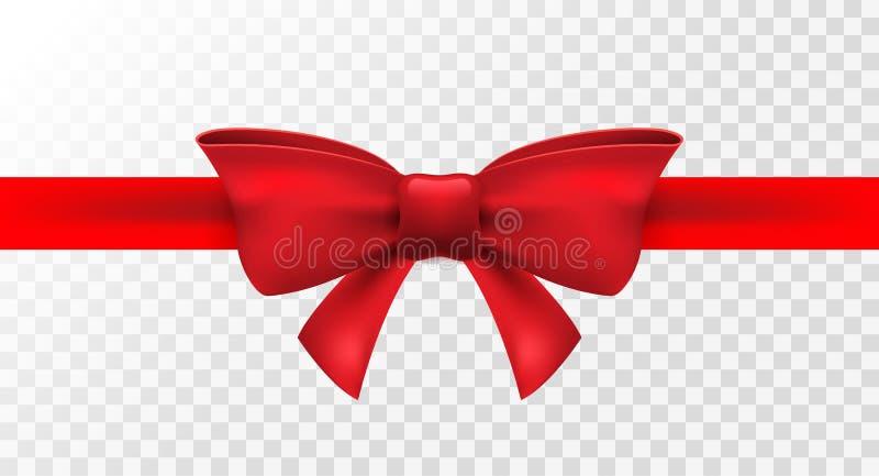 Cinta roja con el arco rojo Decoración aislada vector del arco para el presente del día de fiesta Elemento del regalo para el dis stock de ilustración