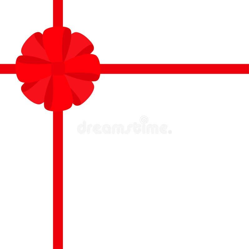 Cinta roja con el icono redondo del arco del regalo de la Navidad Elemento de la decoración de la caja de regalo Diseño plano Fon stock de ilustración