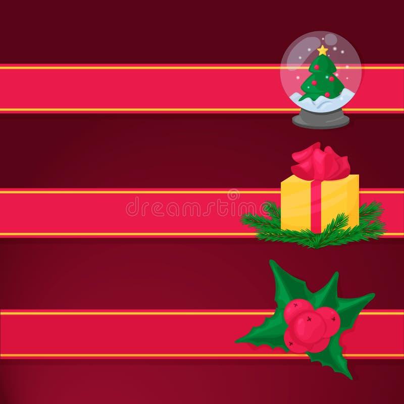 Cinta roja con el objeto de la Navidad Caja de regalo, baya del acebo, árbol de la piel Tema de las vacaciones de invierno ilustración del vector