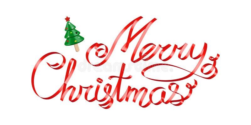 Cinta roja 3d de los saludos de la Navidad que pone letras sobre blanco ilustración del vector