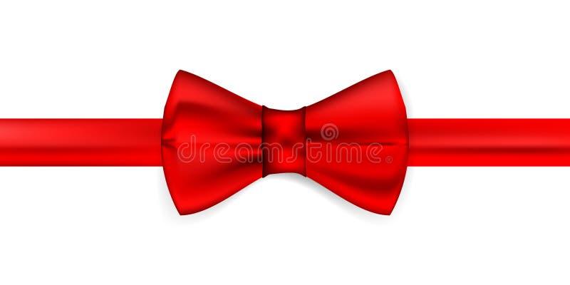 Cinta roja de seda con un arco ilustración del vector