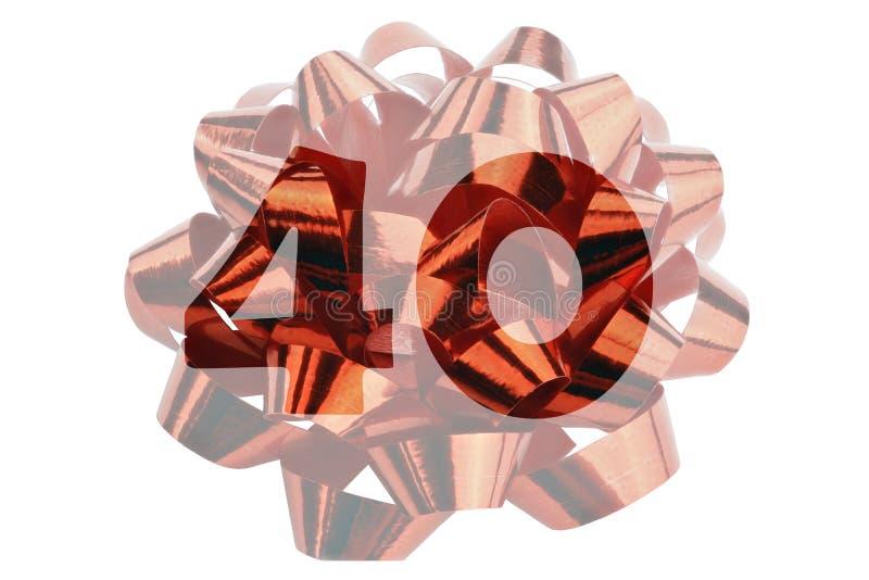 Cinta roja del regalo con el número 40 - simbólico para el 40.o cumpleaños o un aniversario del cuarenta-año imagen de archivo libre de regalías