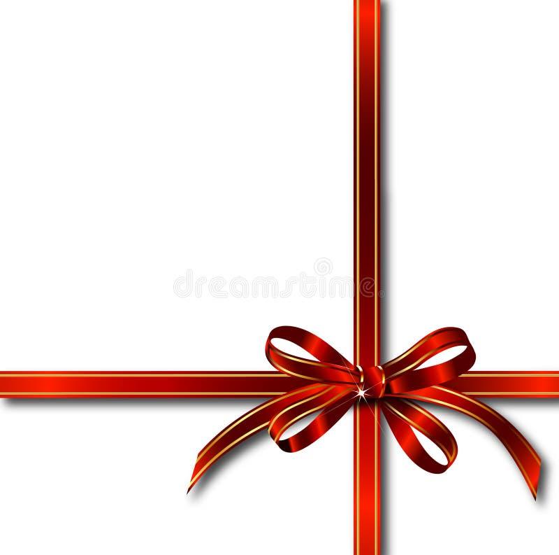 Cinta roja del regalo sobre blanco. Vector ilustración del vector